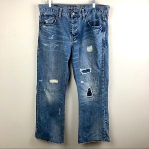 American Eagle BootCut Button Fly Distressed Jeans